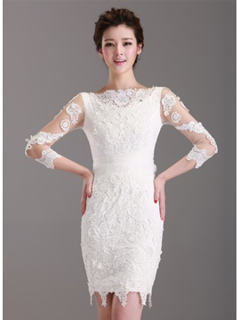 Graceful Sheath/Column Lace 3/4-Length Sleeves Bateau Neckline Short Formal Dress & Cocktail Dresses from china
