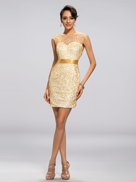 Luxurious Scoop Neckline Beaded Column Short Cocktail Dress & unusual Cocktail Dresses