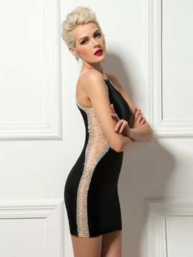 Sensual Sheath Jewel Neck Beading Short Black Cocktail Dress & romantic Cocktail Dresses
