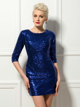 Sparking Half Sleeves Sequins Short Length Sheath Cocktail Dress & Cocktail Dresses under 300