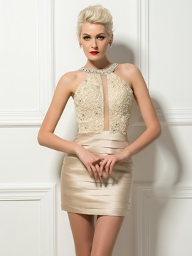 Stunning Appliques Beading Tiered Column Short Cocktail Dress & modest Cocktail Dresses