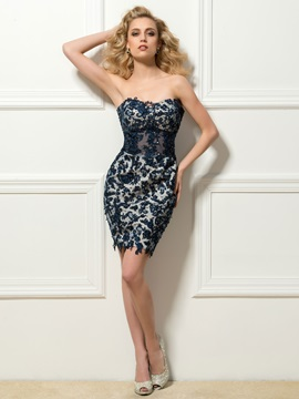 Ladylike Sweetheart Column Appliques Short Cocktail Dress & petite Cocktail Dresses