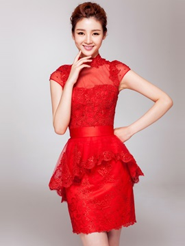 Fancy High Neck Lace High Neck Beading Short Red Cocktail Dress & Cocktail Dresses under 500