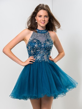 Modern Backless Jewel Neck Beaded A-Line Mini Homecoming Dress & Cocktail Dresses 2012