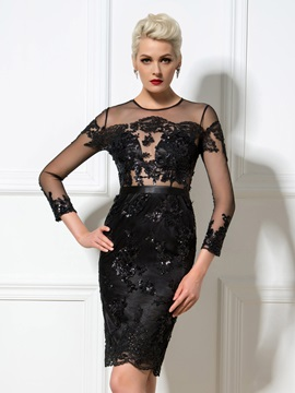 Sexy Sheath Jewel Neck Appliques Sequined Knee-Length Cocktail Dress & Cocktail Dresses for less