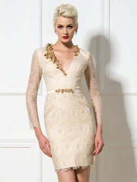 Luxury V-Neck Long Sleeves Sheath Sequined Short Lace Cocktail Dress & Cocktail Dresses under 500