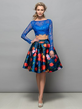 Long Sleeve Lace Print Two Piece Cocktail Dress & Cocktail Dresses under 100
