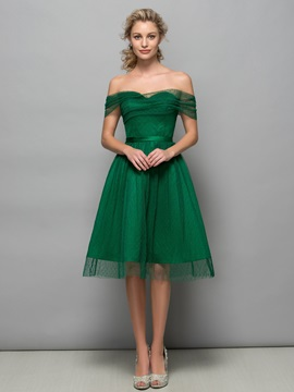Simple Off the Shoulder Sash Knee-Length Tulle Cocktail Dress & Cocktail Dresses online