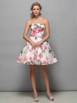 Pretty Strapless A-Line Print Cocktail Dress & attractive Cocktail Dresses