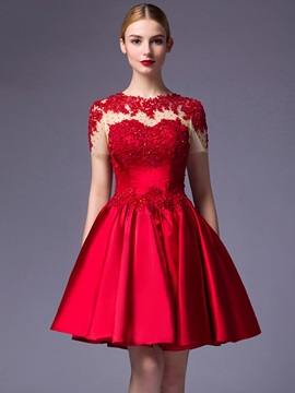 Amazing Short Sleeves Appliques Beaded A-Line Short Cocktail Dress & formal Cocktail Dresses