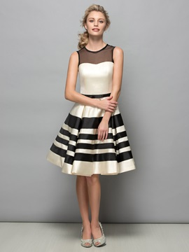 Modern Sheer Neck A-Line Bowknot Knee-Length Cocktail Dress & Cocktail Dresses under 300