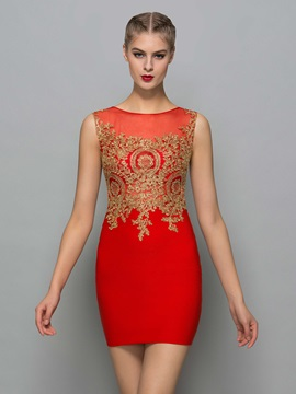 Sexy Scoop Neck Appliques Mini Red Cocktail Dress & amazing Cocktail Dresses