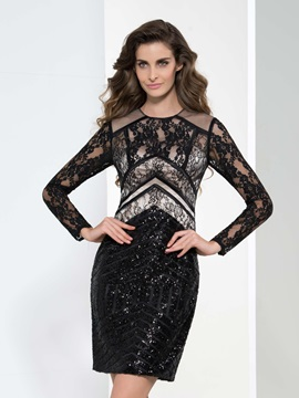Formal Round Neck Long Sleeve Lace Sequin Cocktail Dress & colored Cocktail Dresses