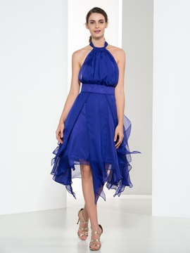 Casual Halter Ruffles A-Line Asymmetry Cocktail Dress & fashion Cocktail Dresses