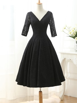 Vintage V-Neck Half Sleeves Black Lace Cocktail Dress & Cocktail Dresses for sale
