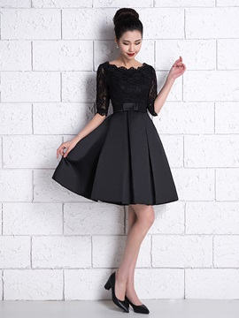Half Sleeves Bowknot Lace Black Cocktail Dress & Cocktail Dresses online