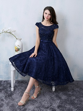 Cool Scoop Neck Beading Knee-Length Lace Cocktail Dress & romantic Cocktail Dresses