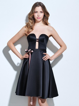 Casual Sweetheart Sashes Hollow Black Cocktail Dress & colorful Cocktail Dresses
