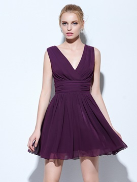 Simple V-Neck A-Line Ruched Short Cocktail Dress & modest Cocktail Dresses