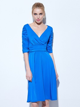 Casual V-Neck Ruched Half Sleeves Knee-Length Cocktail Dress & casual Cocktail Dresses