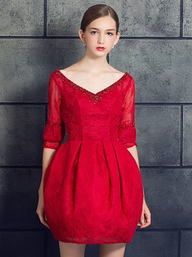 Top Selling A-Line V-Neck Half Sleeves Beading Lace Pearls Short Cocktail Dress & Cocktail Dresses under 100