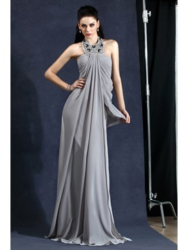 Elegant A-Line Halter Draped Beading Long Polina's Evening Dress & Evening Dresses for less