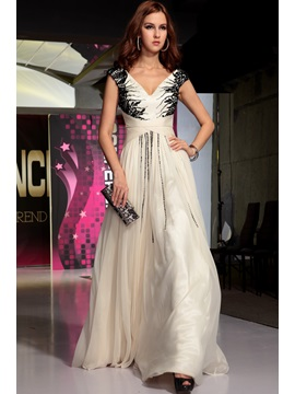 Attractive V-Neck Appliques Cap Sleeves A-Line Long Evening Dress & Evening Dresses from china