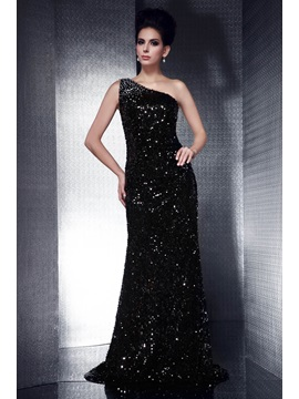 Brilliant Column Sequins&Beading One-Shoulder Floor-Length Taline's Evening Dress & fairytale Evening Dresses