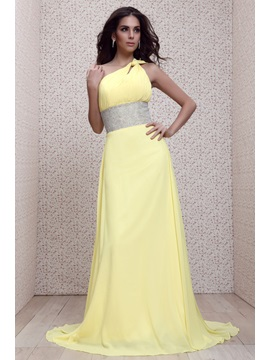 Charming Empire A-Line One-Shoulder Court Train Floor-Length Taline's Evening Dress & Evening Dresses under 300