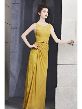 Elegant Sheath Scoop Neckline Sash Lace Floor-Length Evening Dress & amazing Evening Dresses