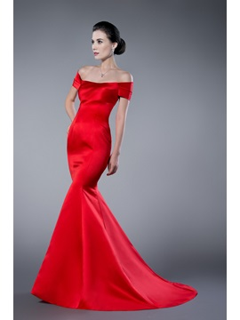 Simple Red Mermaid Off the Shoulder Long Evening Dress & formal Evening Dresses