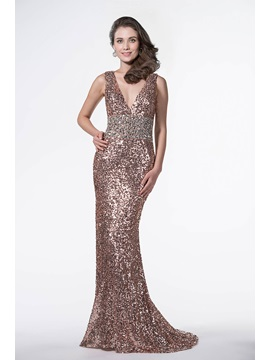 Shinning V-Neck Mermaid Beading Sequins Backless Sweep Train Long Evening Dress & casual Evening Dresses