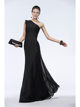 Timeless A-Line Black Chiffon Lace One-Shoulder Long Evening Dress & Evening Dresses under 100