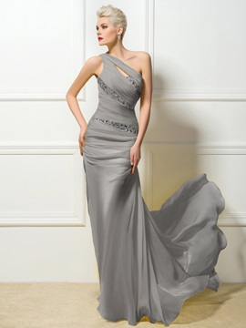 Hot Selling One-Shoulder Sheath Beading Long Sweep Train Evening Dress & casual Evening Dresses