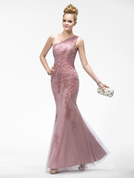 Superior One-Shoulder Mermaid/Trumpet Appliques Floor-Length Evening Dress & discount Evening Dresses