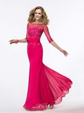 Gorgeous Trumpet Half Sleeves Beading Bateau Neckline Long Evening Dress & vintage style Evening Dresses
