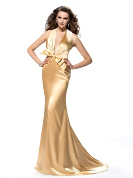 Backless Halter Bowknot Court Train Trumpet Evening Dress Designed & cheap Evening Dresses