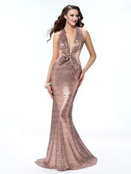 Luxurious Trumpet/Mermaid Backless Sleeveless Halter Bowknot Sequins Evening Dress Designed & petite Evening Dresses