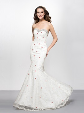 Sweetheart Sequins Beading Mermaid Lace Evening Dress Designed & colored Evening Dresses