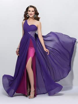 Charming A-Line One-Shoulder Sequins Beading Empire Watteau Train Long Evening Dress