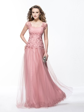 A-Line Appliques Sweetheart Cap Sleeves Long Evening Dress Designed & modern Evening Dresses