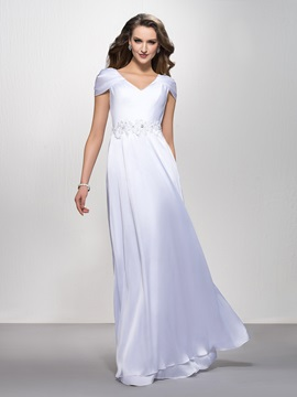 V-Neck Appliques Sequins A-Line Floor-Length Cap Sleeves Evening Dress & attractive Evening Dresses