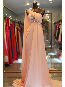 Gorgeous A-Line Crystal One-Shoulder Pleats Long Sweep Train Evening Dress & modest Evening Dresses