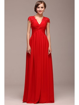 Graceful A-Line Lace V-Neck Cap Sleeves Floor-Length Lace-up Evening Dress & Evening Dresses on sale