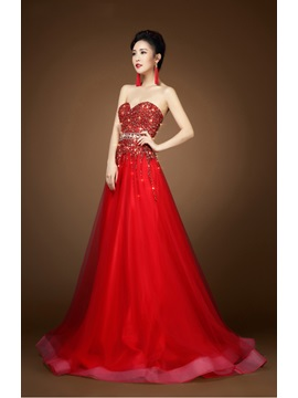 Shining A-Line Beading Sweetheart Floor-Length Tulle Evening Dress & Evening Dresses from china