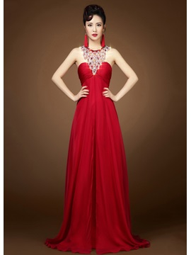 Jewel Neck Beading A-Line Backless Sweep Train Long Evening Dress & affordable Evening Dresses
