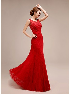 Scoop Neck Lace Little Flowers Lace-up Floor-Length Evening Dress & Evening Dresses 2012