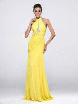Courtlike Halter Beading Ruffles Mermaid Backless Long Evening Dress Designed & Evening Dresses online