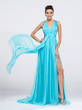 Delicate V-Neck Straps Sequins Split-Front Sweep Train Long Evening Dress Designed & colored Evening Dresses