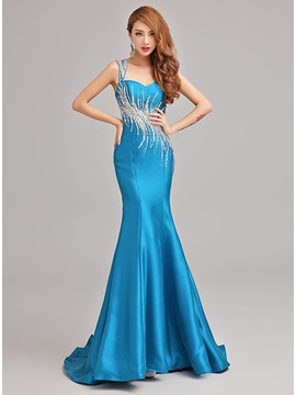 One-Shoulder Mermaid Beading Floor-Length Sweep Train Evening Dress & Evening Dresses on sale
